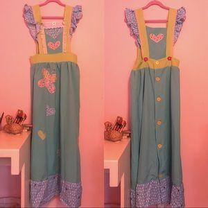 Vintage kawaii butterfly bunny pinafore dress
